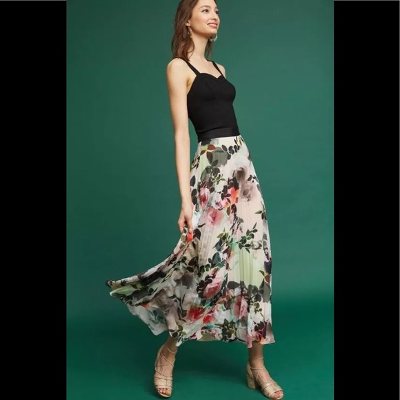 795746ed51 Anthropologie Skirts | Maeve Floral Pleated Skirt Nwt | Poshmark